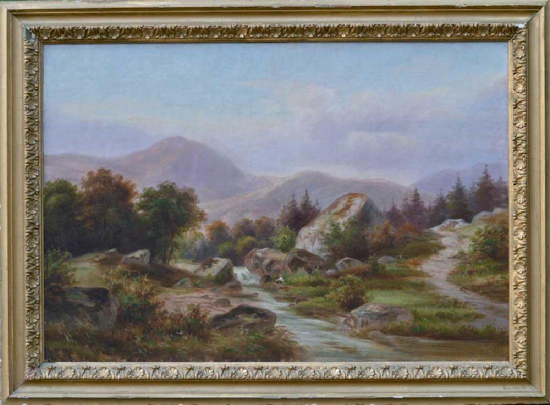 19th C. American Landscape Oil on Canvas