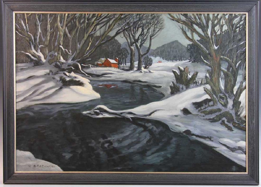 Ray Anthony Grathwol, Winter Landscape, Oil on Canvas