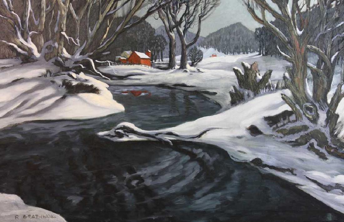 Ray Anthony Grathwol, Winter Landscape, Oil on Canvas - 2