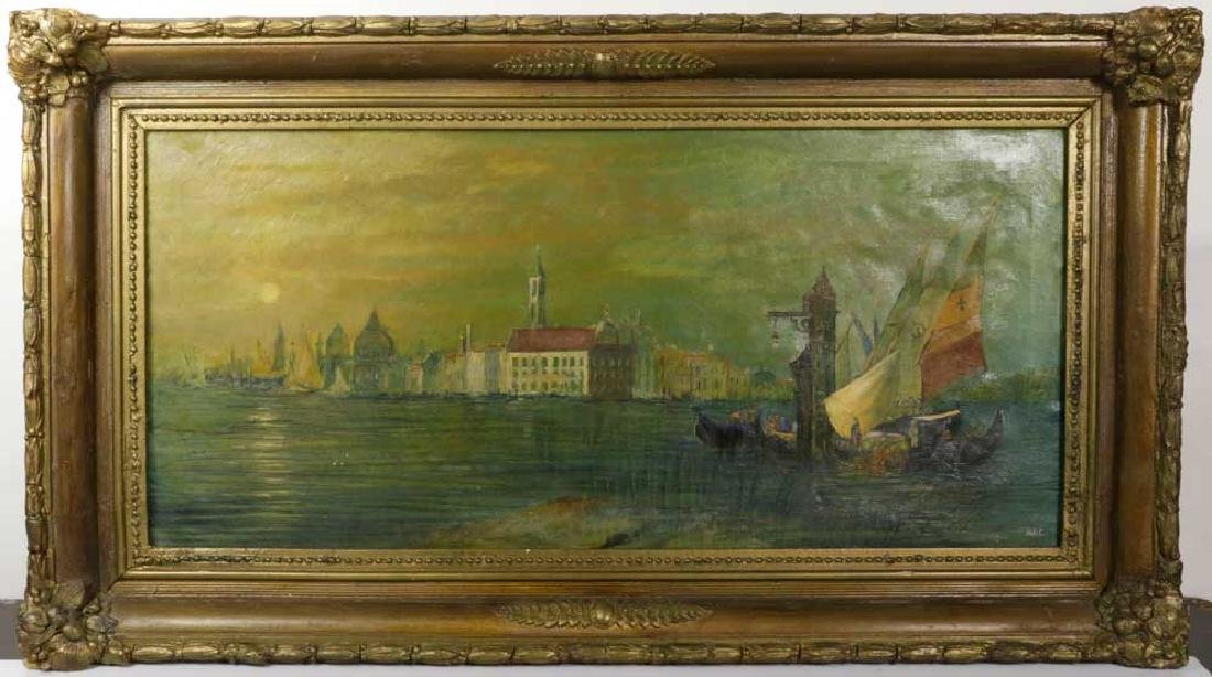 Venetian Canal Scene, Oil on Canvas