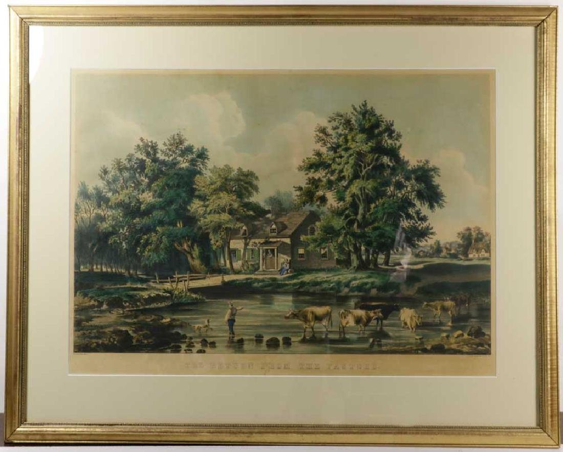 Currier & Ives Print, Return From the Pasture
