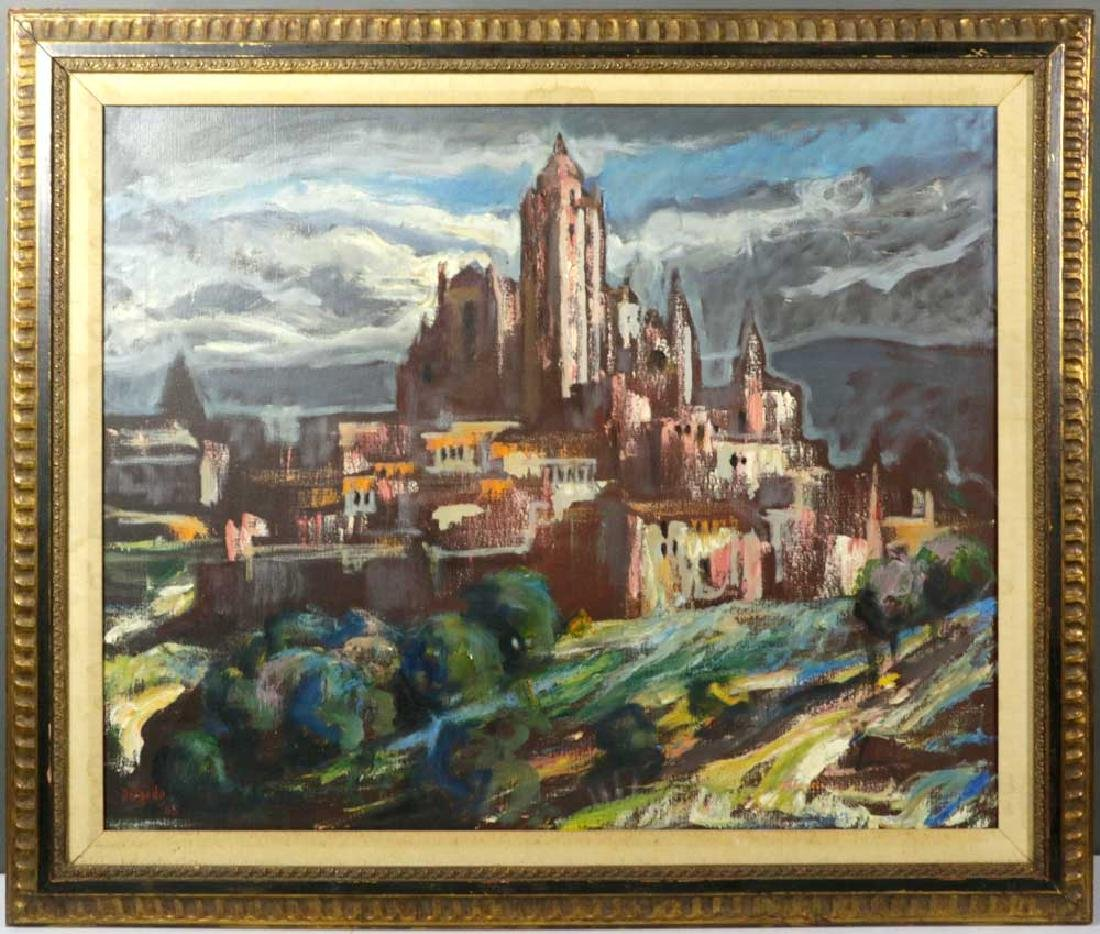 Delgado Signed, Cathedral Segovia, Oil on Canvas