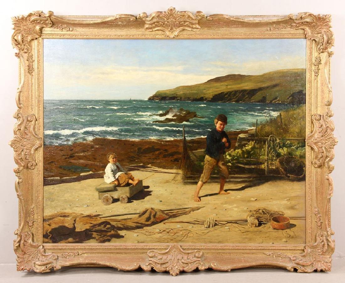 J. H. E., Beach Scene, Oil