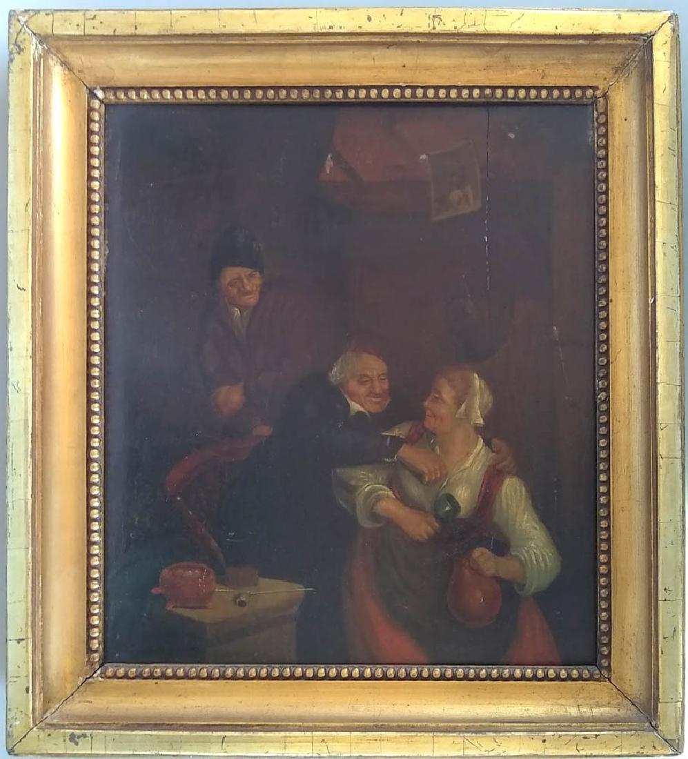 18th C. Dutch Tavern Scene, Oil on Panel