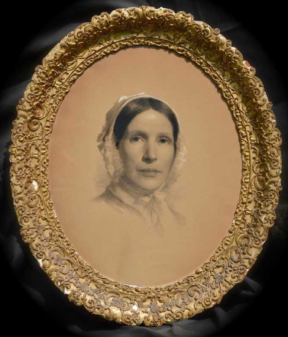 Framed Crayon Portrait, Woman in Bonnet