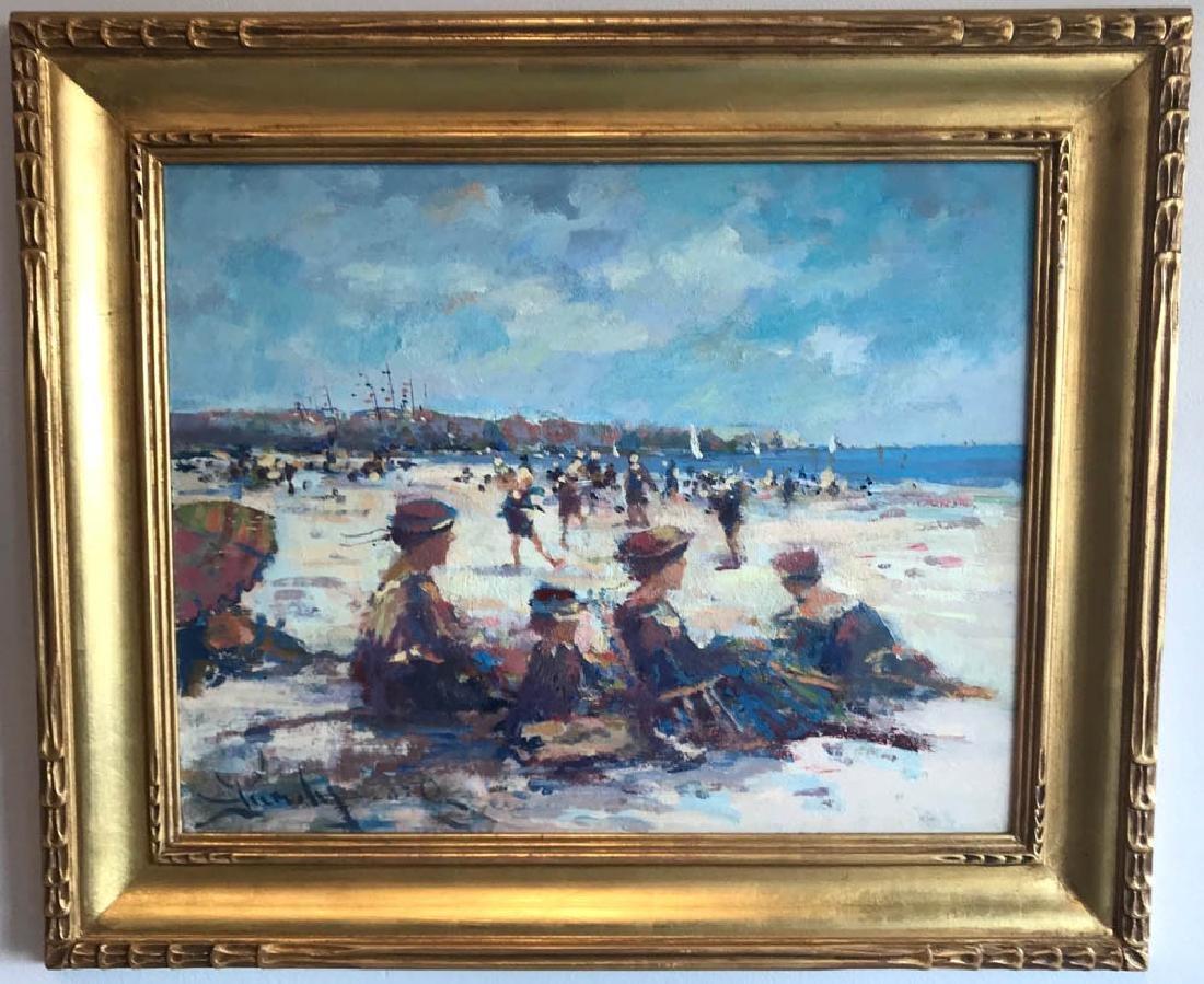Donald Purdy, Beach Scene, Oil on Board