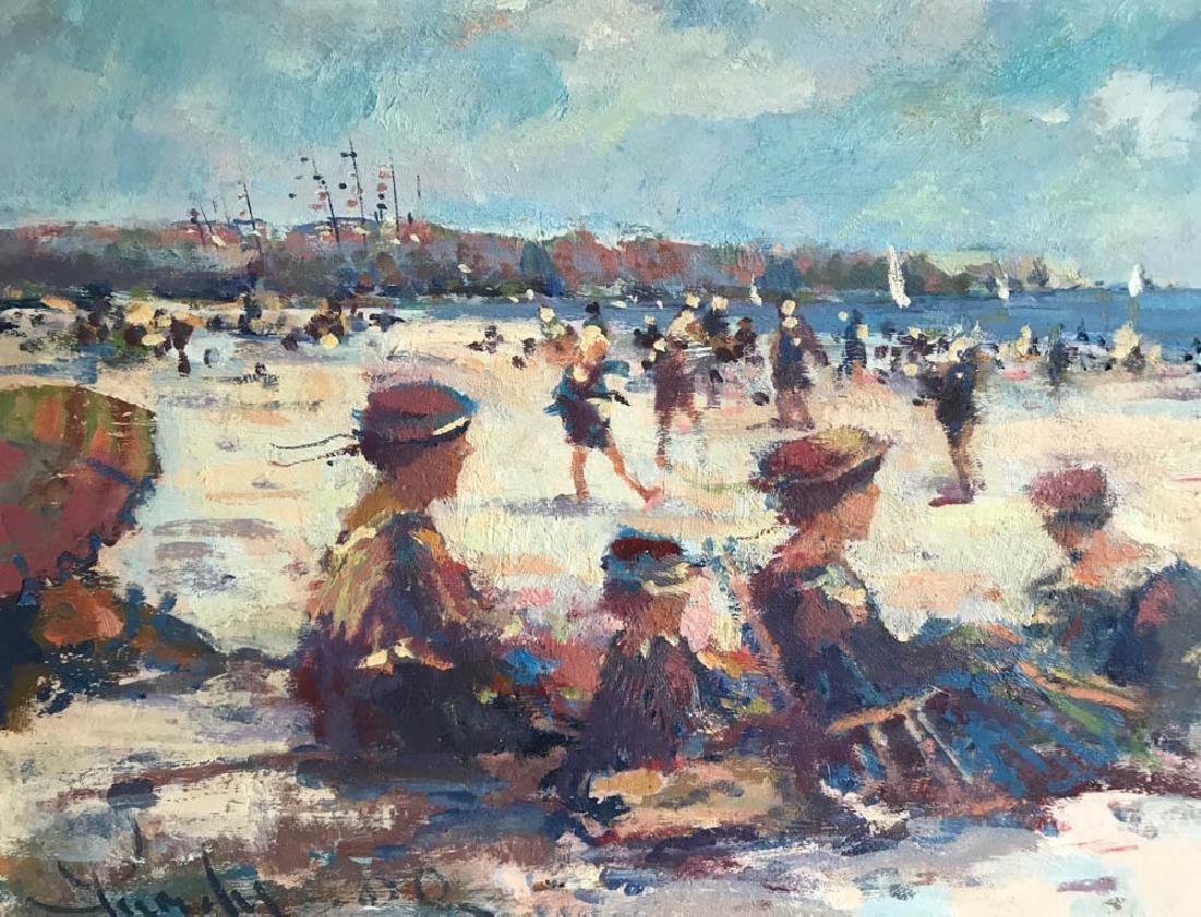 Donald Purdy, Beach Scene, Oil on Board - 2