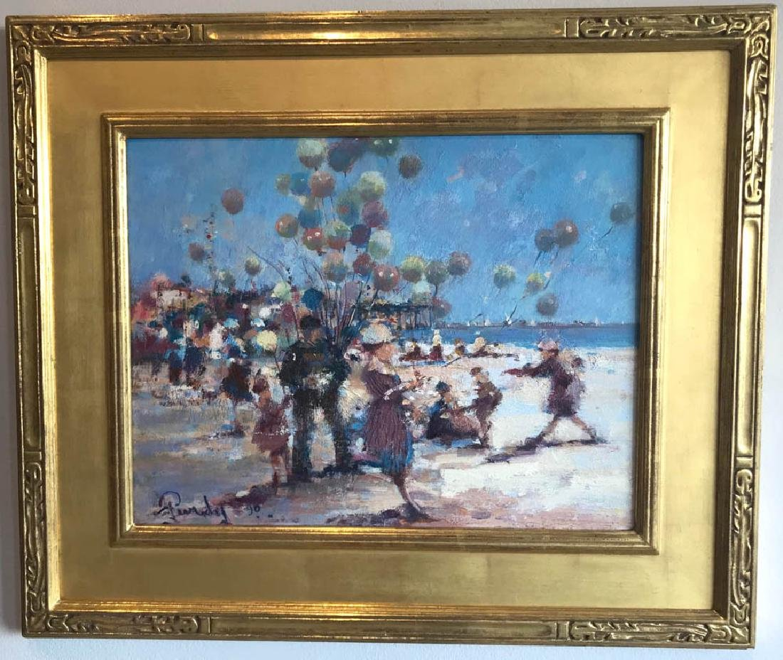 Donald Purdy, Beach w/ Balloon Man, Oil on Board