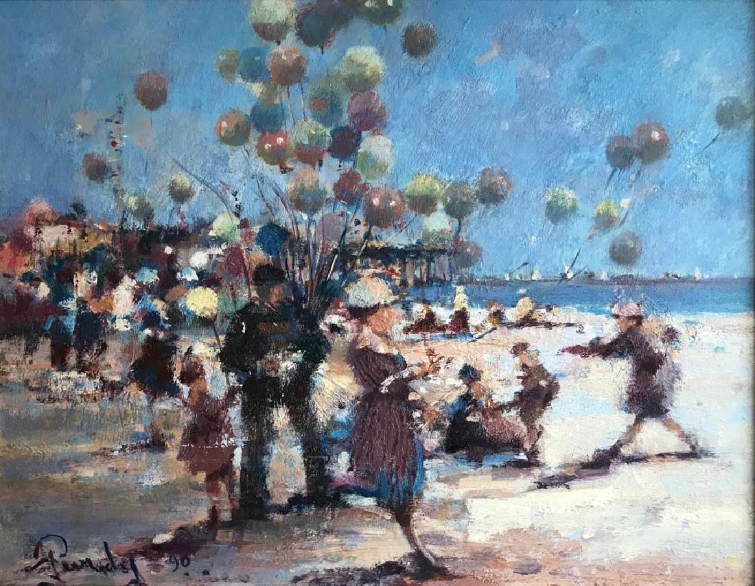 Donald Purdy, Beach w/ Balloon Man, Oil on Board - 2