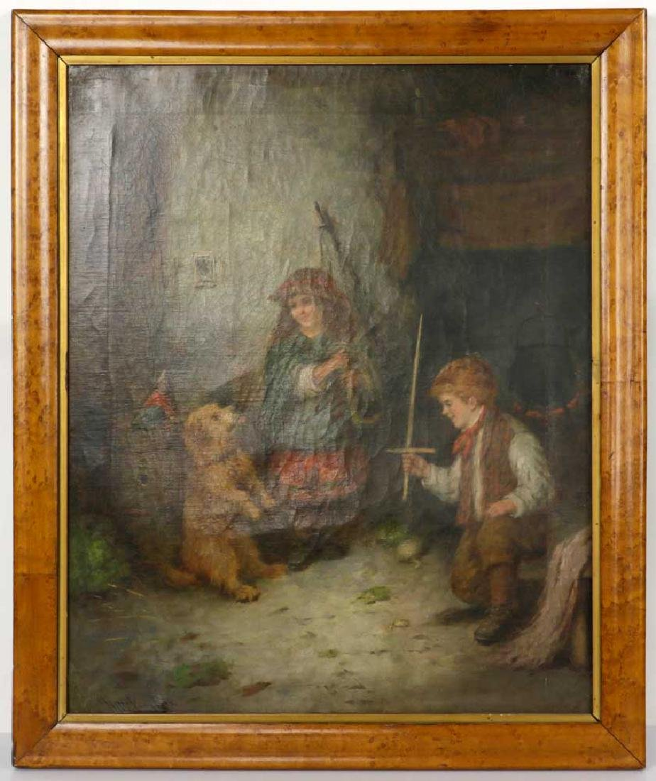 19th C., Children with Dog, Oil on Canvas