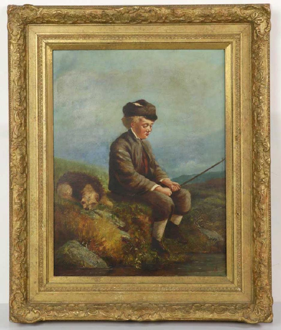19th C., Boy Fishing with Dog, Oil on Board