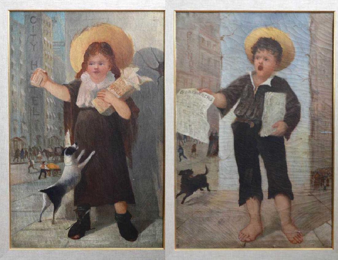 Pair of Boston Folk Genre Paintings