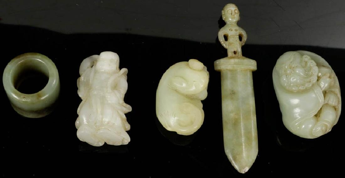 19th/20th C. Chinese Jade Carvings, 5-pcs