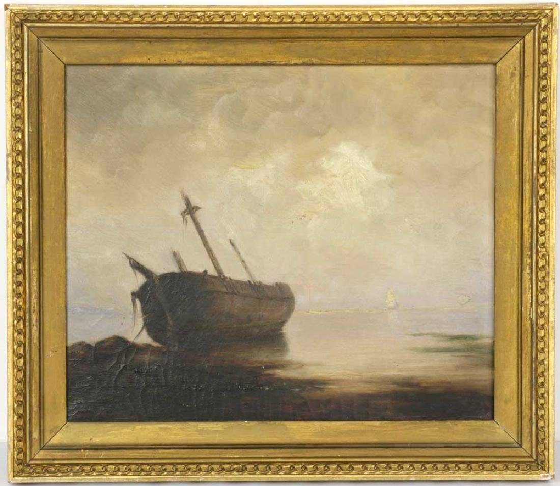 Hendricks Hallett, Ship's Hull Wiscasett, Oil on Canvas
