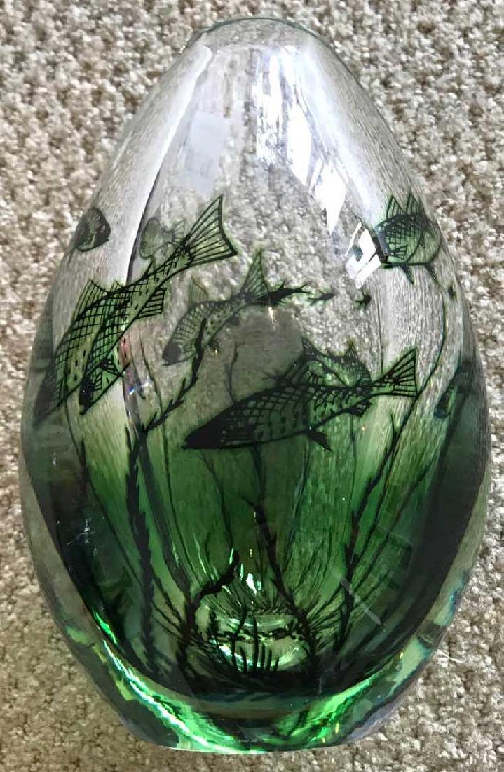 Orrefors Crystal Vintage Fish Motif Vase