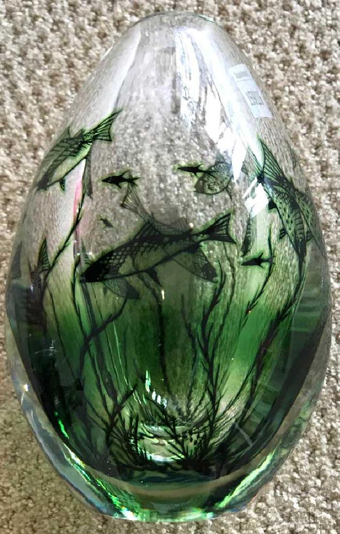 Orrefors Crystal Vintage Fish Motif Vase - 2