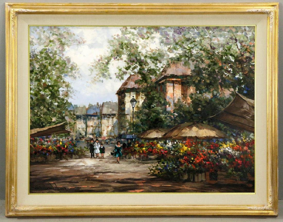 Pierre Latour, Flower Market Scene, Oil on Canvas