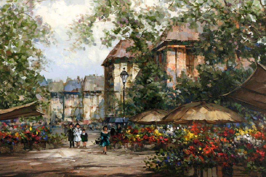 Pierre Latour, Flower Market Scene, Oil on Canvas - 2