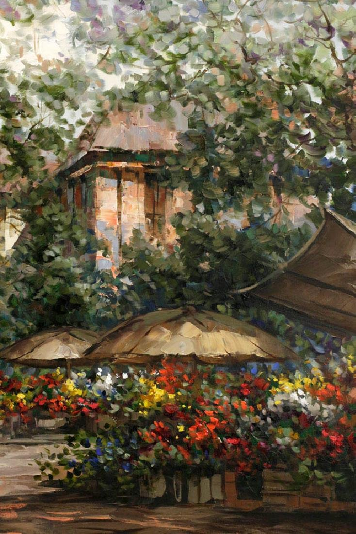 Pierre Latour, Flower Market Scene, Oil on Canvas - 3