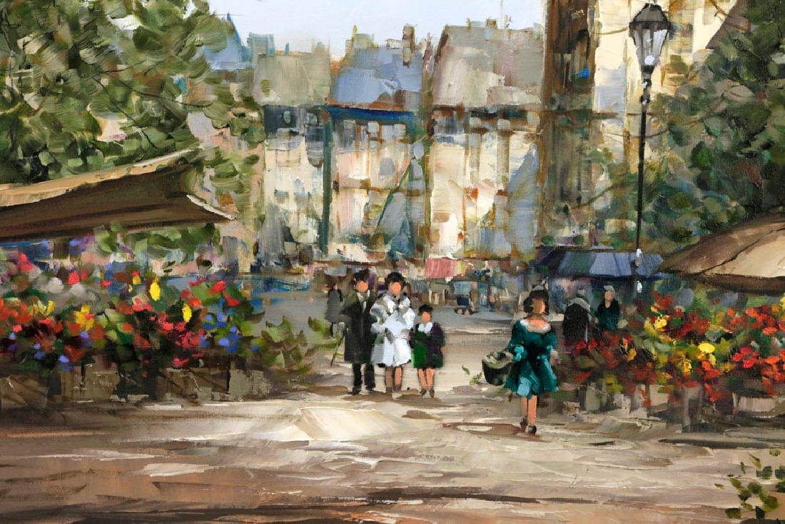 Pierre Latour, Flower Market Scene, Oil on Canvas - 4
