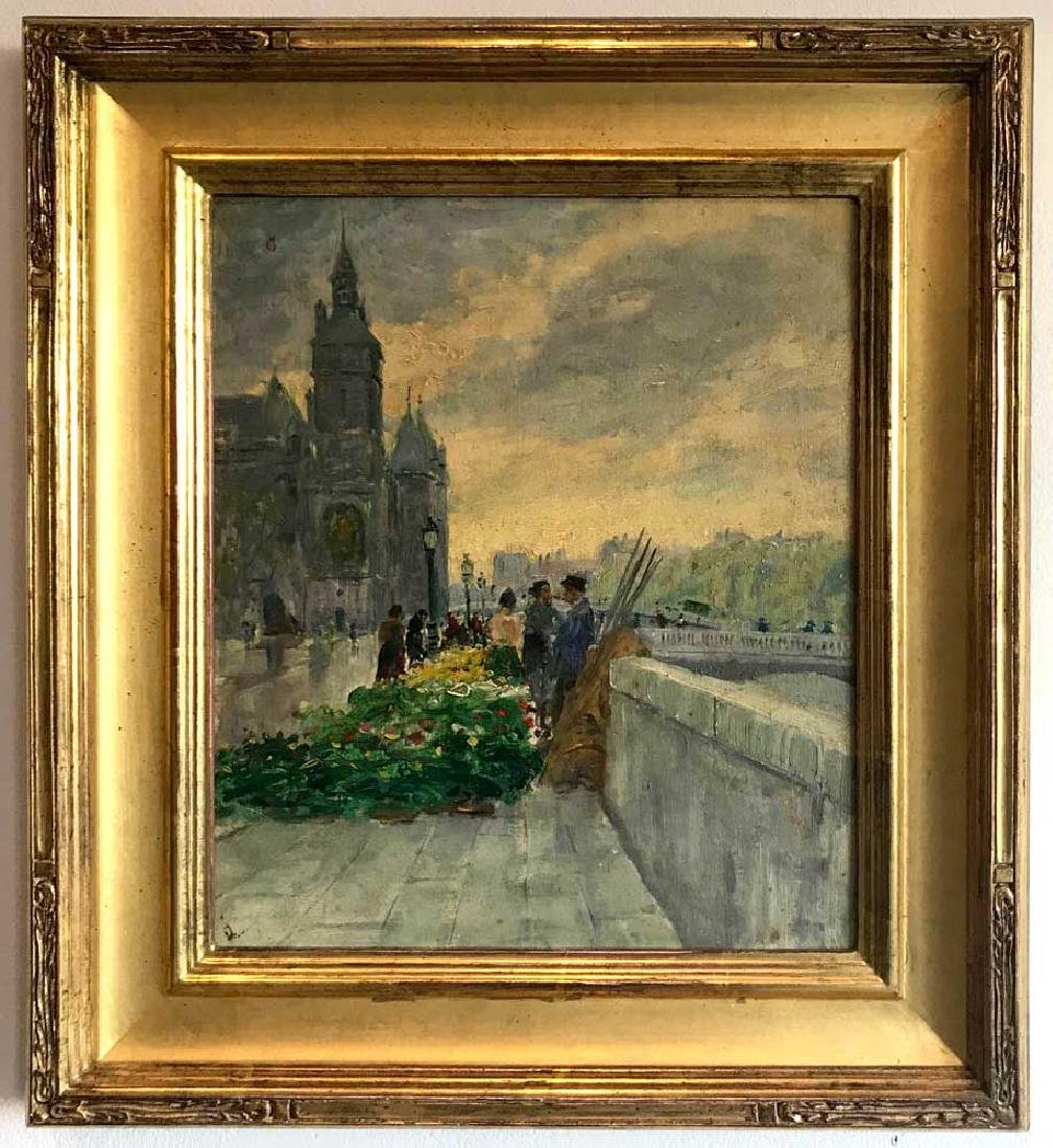 Paris View, Notre Dame, Oil on Board