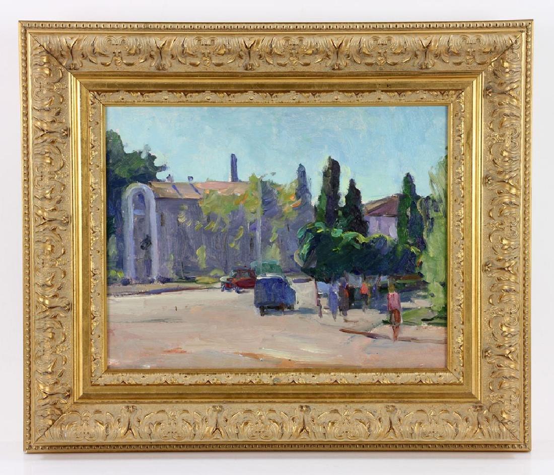 Fesiuk, Street Scene, Oil on Board