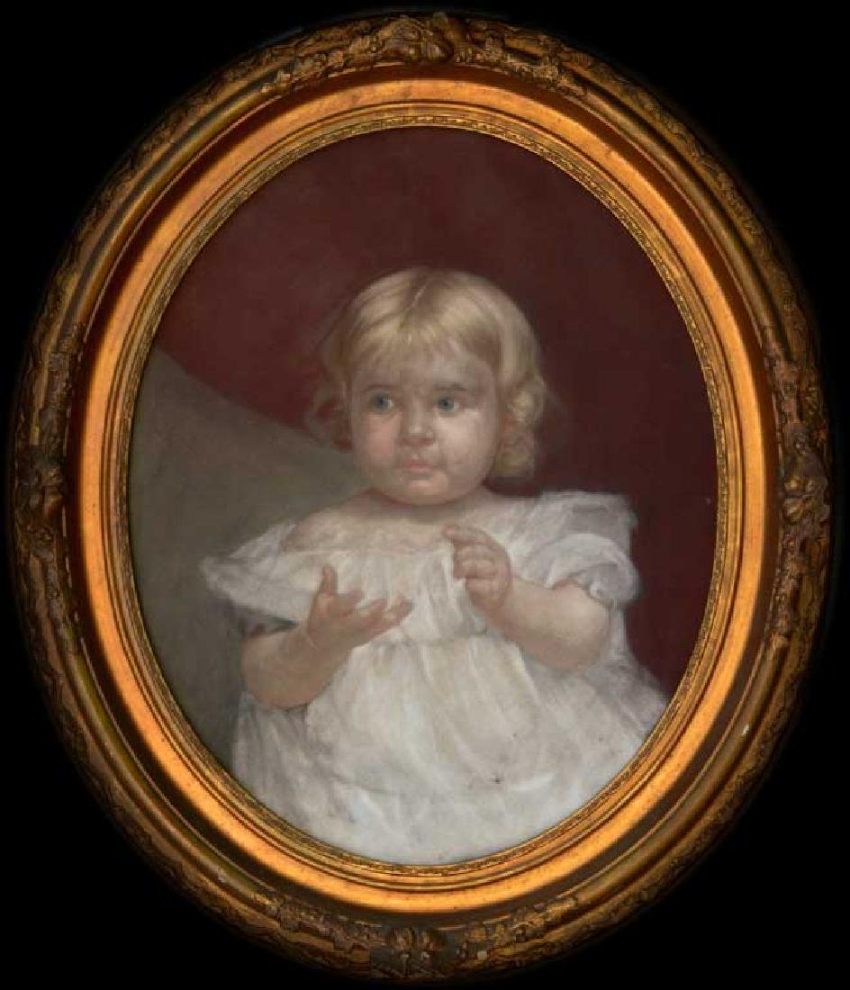 19th C. American Oval Pastel