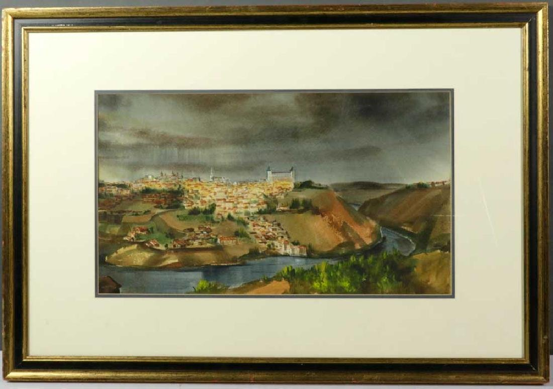Olson Signed, City in Europe, Watercolor