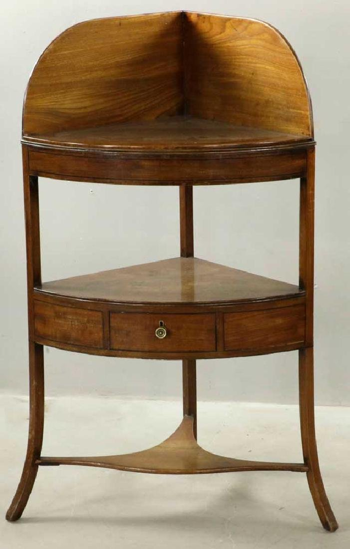Early 19th C. Federal Mahogany Corner Stand