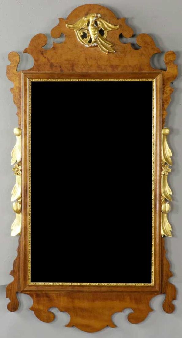Antique Chippendale Tiger Maple Mirror