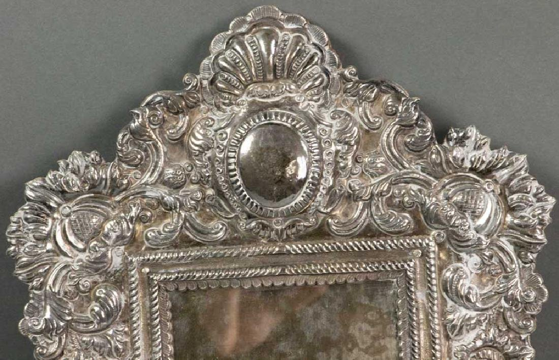 19th C. Spanish Colonial Solid Silver Mirror - 2