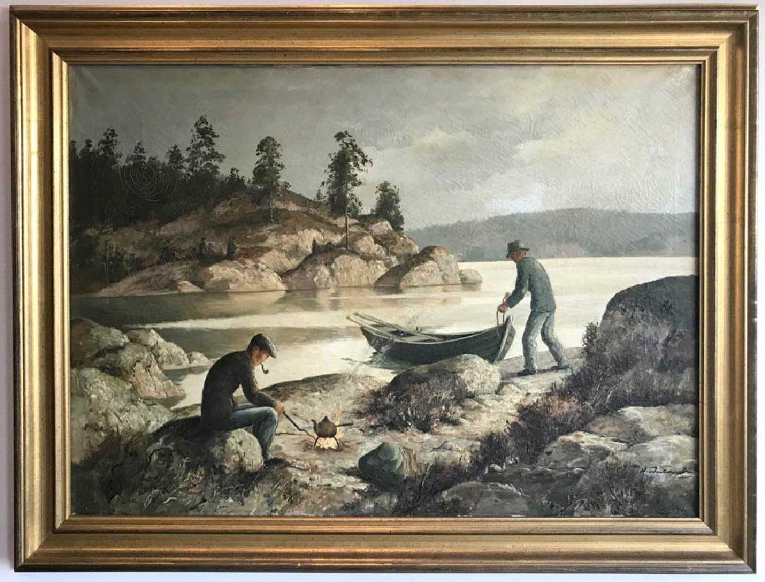 Harry Waldow, Men with Boat, Oil on Canvas