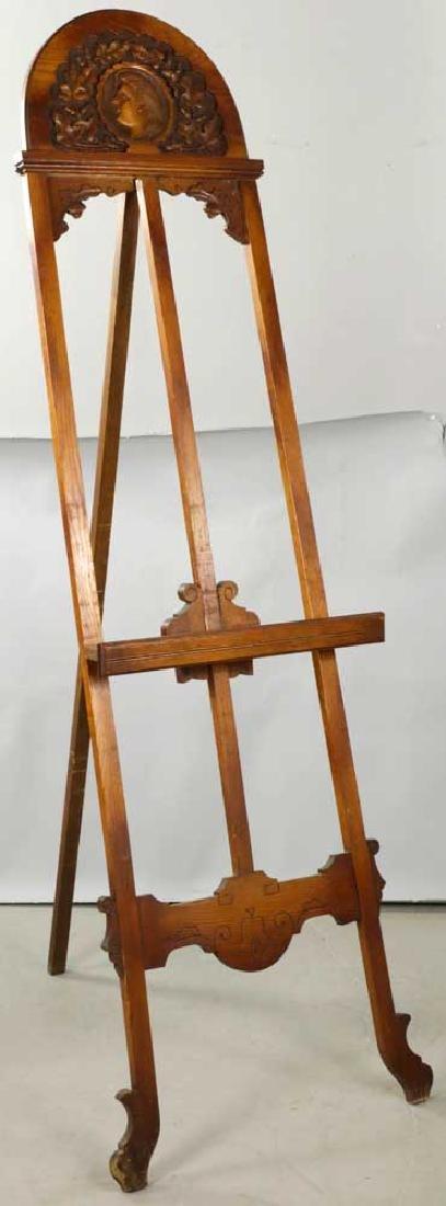 Carved Oak Arts and Crafts Easel
