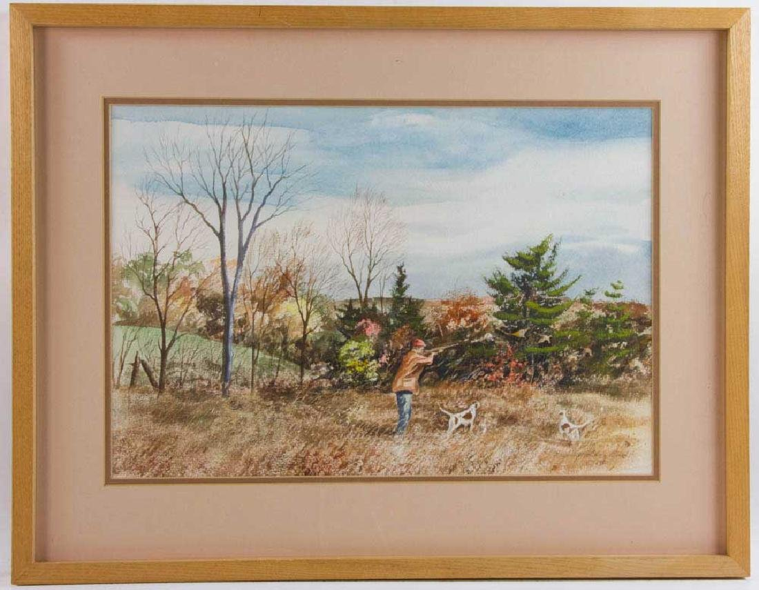 Harding Mudge Bush, Hunting, Watercolor
