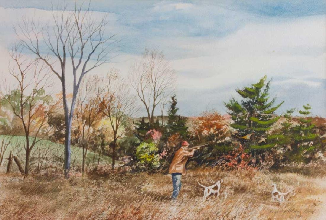 Harding Mudge Bush, Hunting, Watercolor - 2