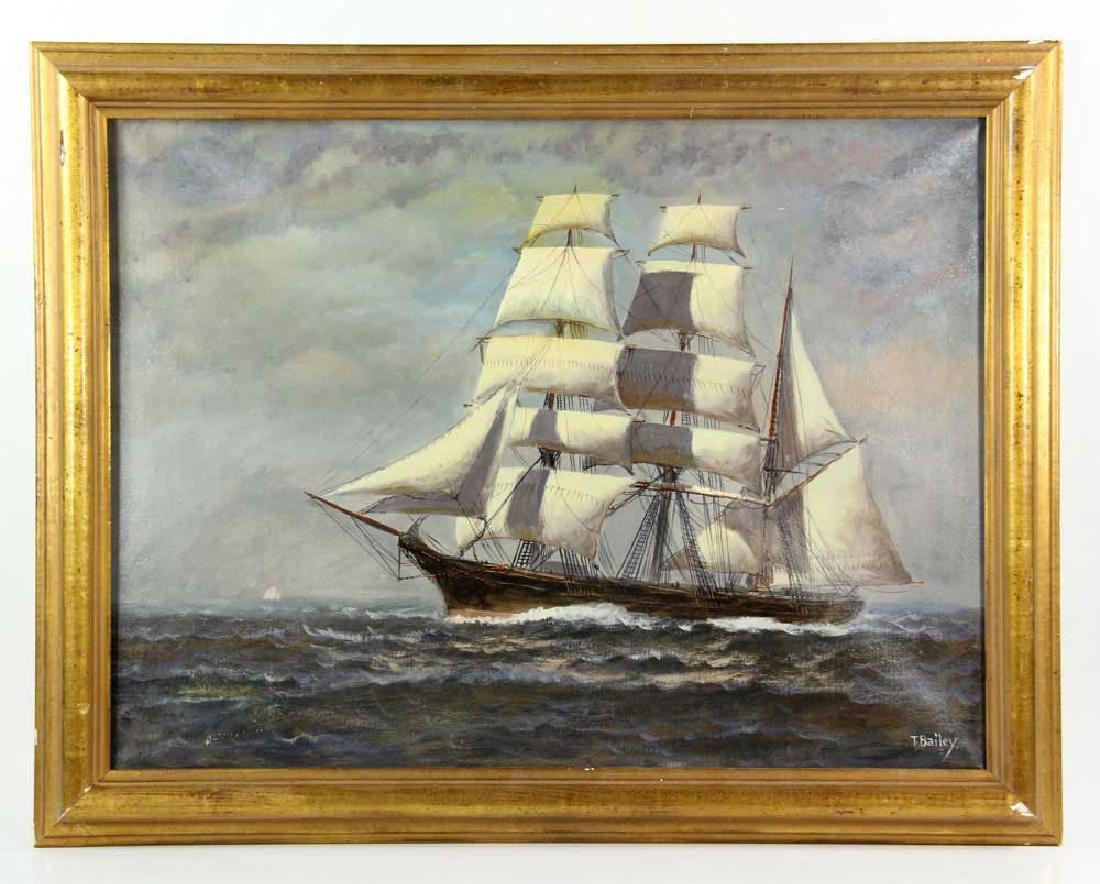 Bailey, Ship Under Full Sail, Oil on Canvas