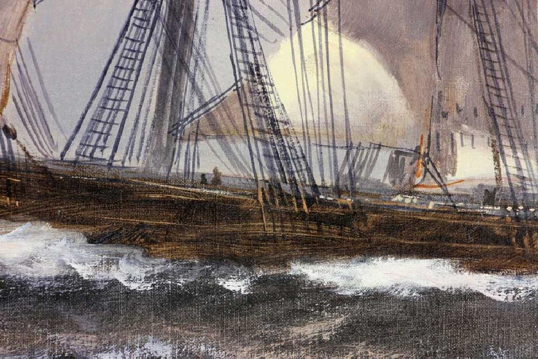 Bailey, Ship Under Full Sail, Oil on Canvas - 3