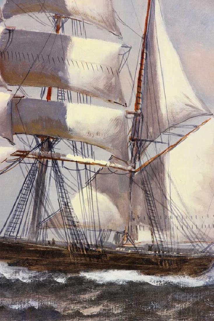 Bailey, Ship Under Full Sail, Oil on Canvas - 4