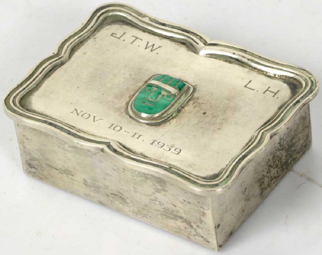 Sterling Art Deco Box w/ Carved Stone Face
