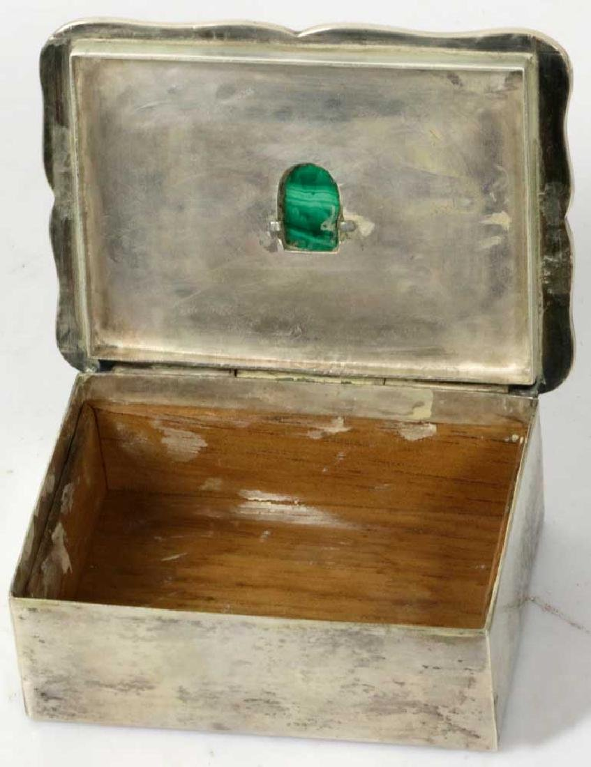 Sterling Art Deco Box w/ Carved Stone Face - 3