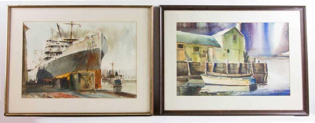 (2) Watercolors, Motif #1 Rockport, Freighters