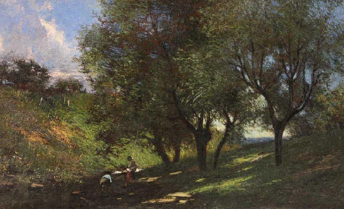 19th C. Impressionistic Landscape, Oil on Canvas - 2