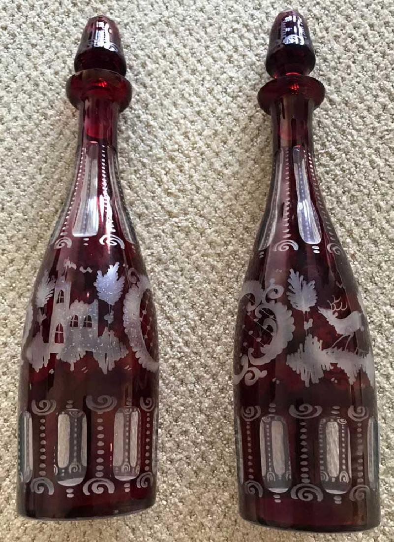 Pair of Bohemian Cut Ruby Glass Decanters