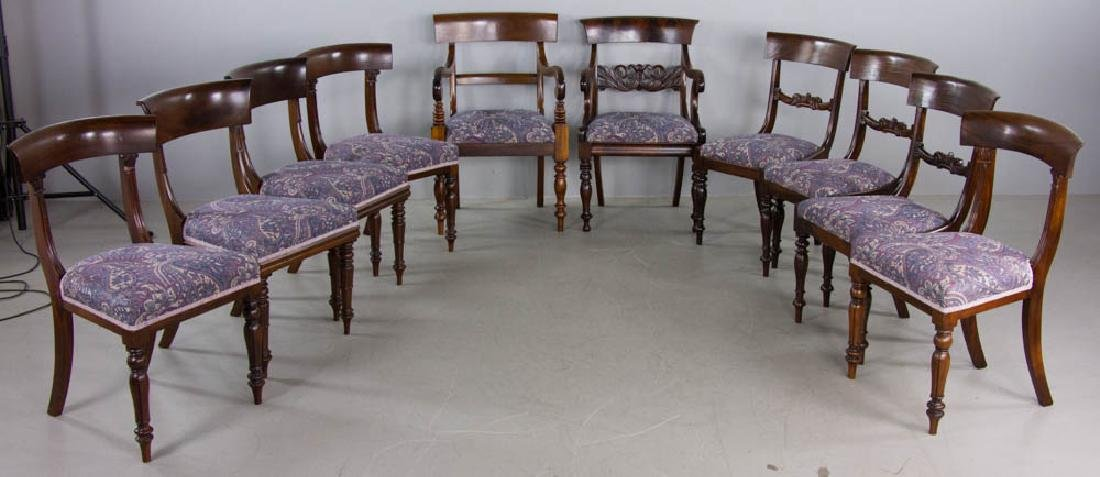 Set of (10) 19th C. Regency-style Dining Chairs