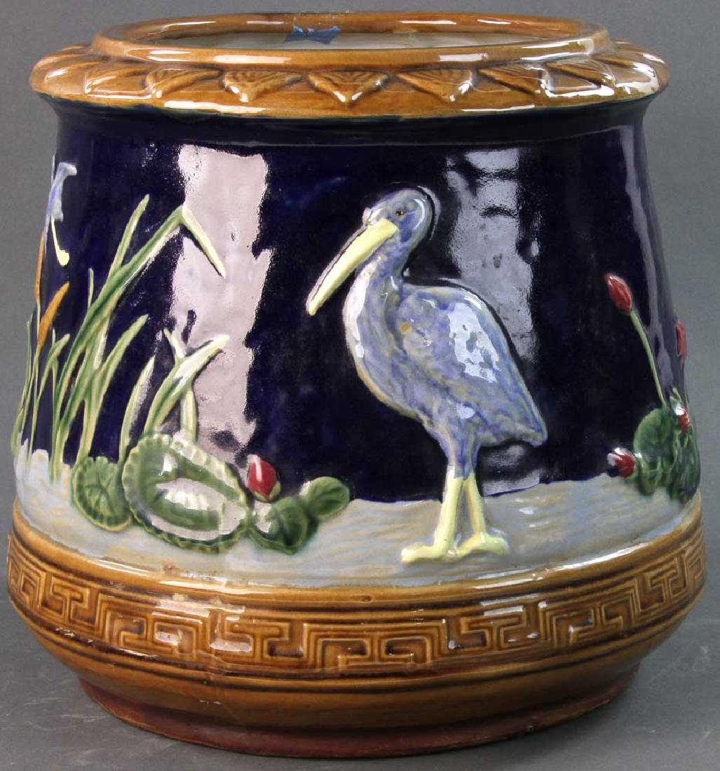 Majolica Jardiniere Heron and Water Lily
