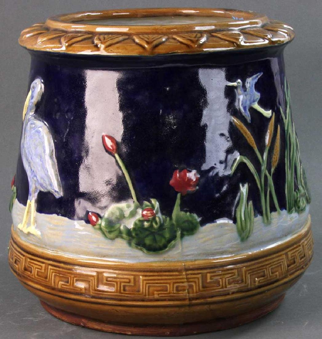 Majolica Jardiniere Heron and Water Lily - 2