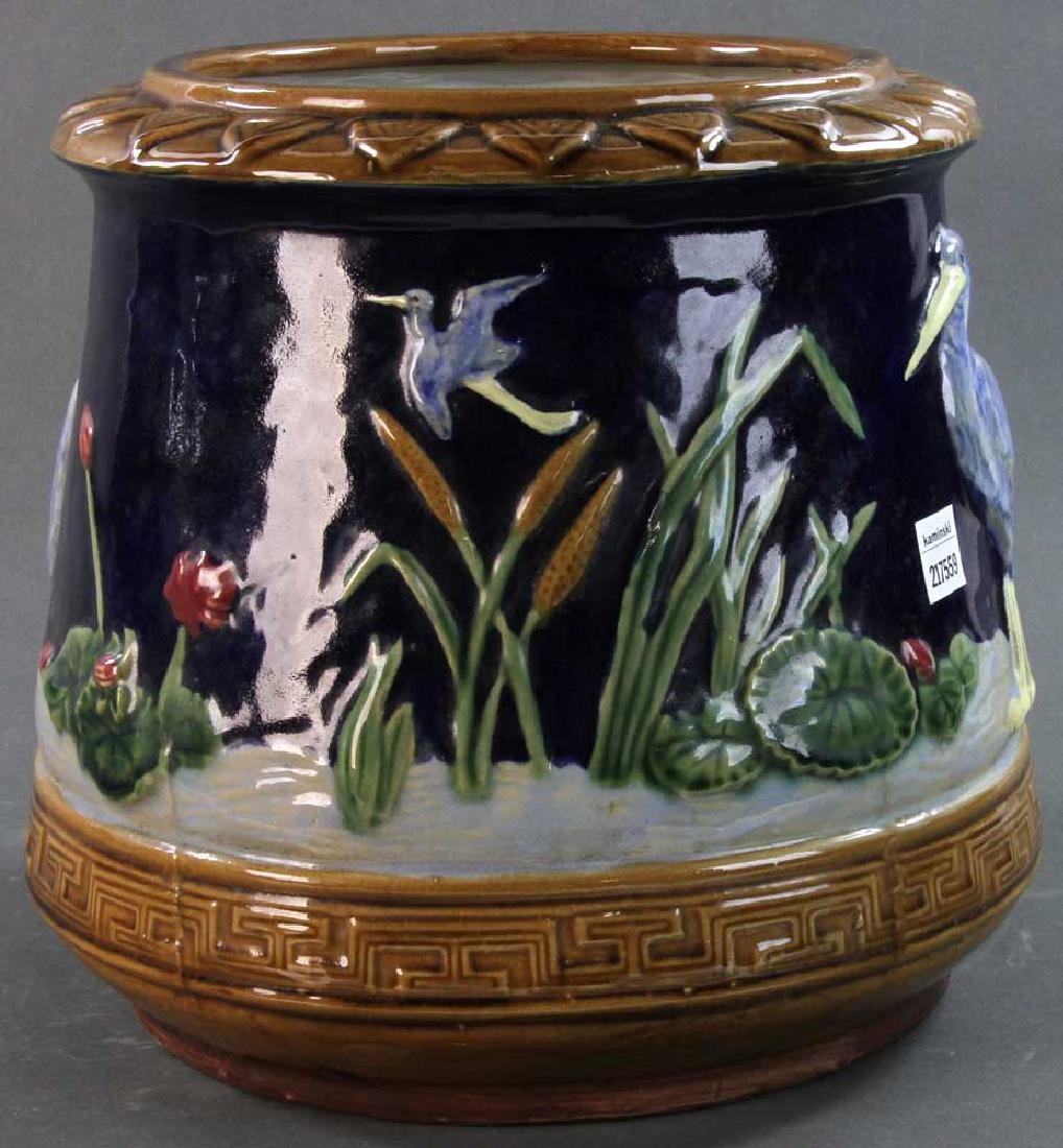 Majolica Jardiniere Heron and Water Lily - 3