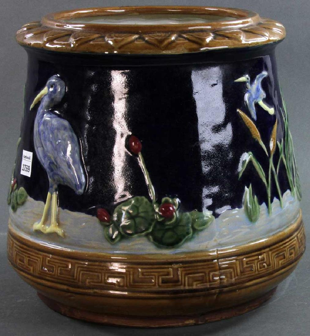 Majolica Jardiniere Heron and Water Lily - 4