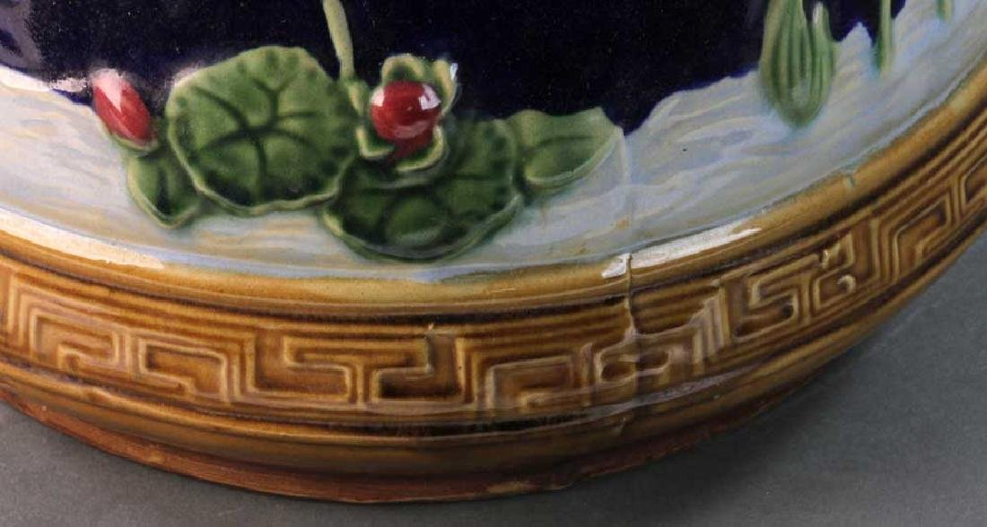 Majolica Jardiniere Heron and Water Lily - 7