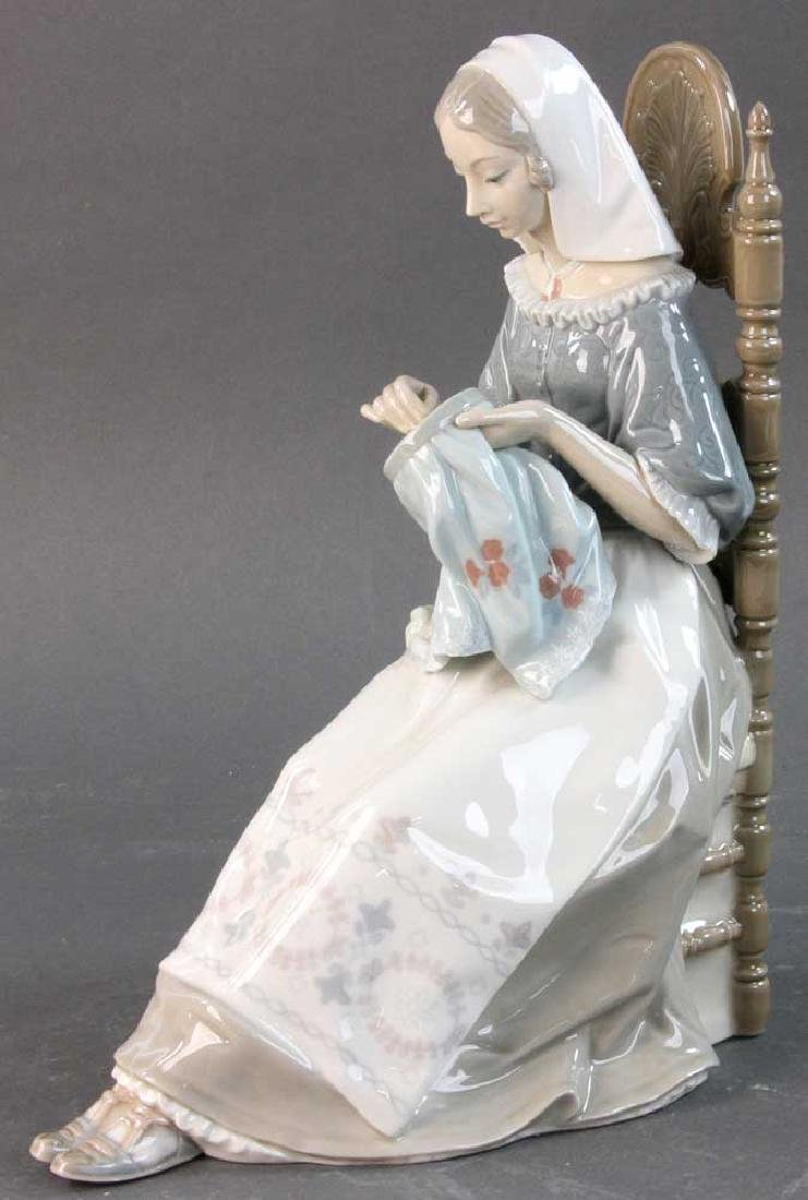 Lladro Figure of Woman with Embroidery
